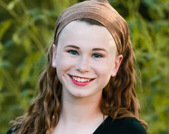 Women's Headband Linen Solid Brown Headband Wide Headband Headwrap Fabric Headband Hippie Brown Head Scarf (#4725) S M L X