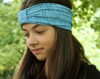 Turban Headscarf Blue Sport Turban Ear Warmer Head Wrap Spandex Turban Daughter Gift Blue Cloth Head Cover (#1510) S M L