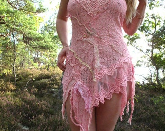 Bubblegum pink  lace sexy mini dress burning man festival outfit fairy faerie clothing