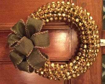 Gold Jingle Bells Holiday Wreath - LIMITED EDITION, Christmas Wreaths for Door, Christmas Holiday Wreath, Gold Wreath