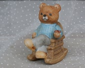 Teddy Bear with Pipe Figurine Vintage Homco Papa Bear in Rocking Chair