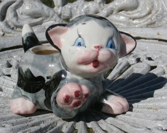 Vintage Chubby Kitten Planter Black and Gray Tabby Cat