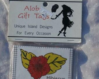 Aloha Hawaii Themed Package of 6 Vintage Gift Tags, Christmas or Anytime
