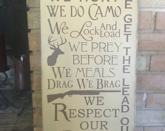 """Hunting Sign,In This House We Hunt, Father's Sign,Mancave Decor,Mancave Sign,Deer Hunting Sign,Guns and Shooting Rustic,DAWNSPAINTING,12""""x24"""