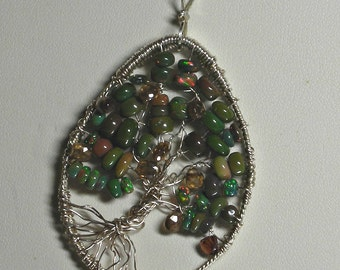 Green Ethiopian Opal Tree of Life Necklace