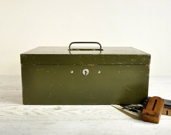 Rustic Metal Cash Box with Key, Vintage Storage Box, Industrial Storage