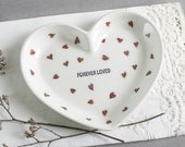 Ceramic Heart Dish Pottery Heart Bowls, FOREVER LOVED, Modern White red hearts gift under 25 for her love Trinket Jewelry Home Decor