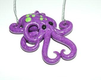 glow in the dark, purple octopus necklace,  semi translucent, opalescent, sparkly, glitter, specks, spots, pastel