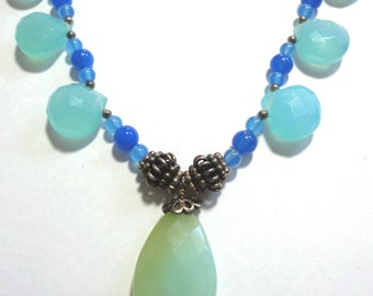 Blue Chalcedony Necklace With Seafoam Green Chalcedony Focal Pendant and Blue Chalcedony Beads with Sterling