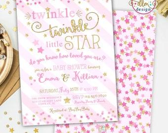 Twinkle Twinkle Little Star Baby Shower Invitation, Twinkle Twinkle Shower Invite, Printable Invitation, Baby Girl Shower, Twinkles Invite