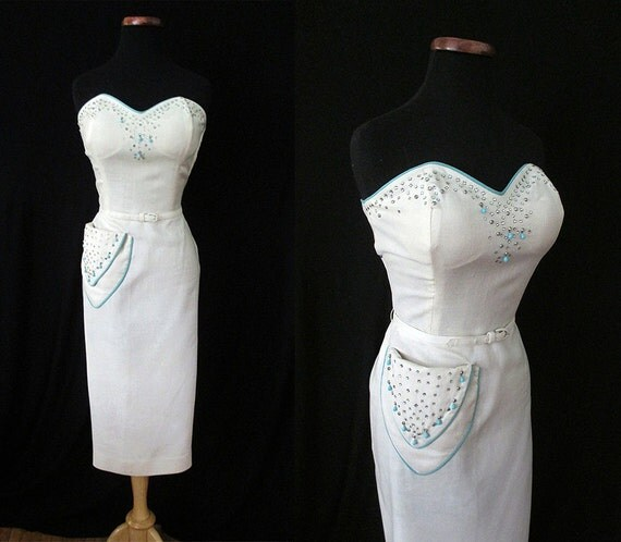 Gorgeous 1950's Strapless Summer Cocktail Party Dress with Rhinestones and Turquoise Beading Rockabilly VLV Pinup Hourglass Vixen Size-Large