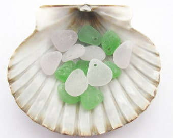 Top Drilled SeaGlass Jewelry Supply, Genuine Sea Glass Jewelry Making