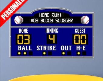 Personalized Custom Scoreboard Baseball Wall Decal Sticker Removable Wall Art Sports Score Board