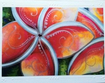"SET OF 5 Framable Art Greeting Card, Blank Note Card, Hawaiian ""Tropical Spirit"" Plumeria Flowers Watercolor Art By Artist Christie Marie"