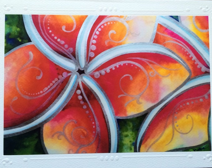 "SET OF 5 Framable Art Greeting Card, Blank Note Card, Hawaiian ""Tropical Spirit"" Plumeria Flowers Watercolor Art By Artist Christie Marie"