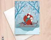 Winter Hug - Girl & Fox - Blank Christmas Greeting Card