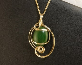 Jade Gemstone Gold Pendant Necklace, Genuine Green Jade Wire Sculpture Pendant