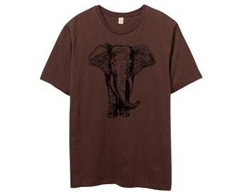 Mens TShirt - Elephant Shirt - Elephant TShirt - Brown Shirt - Mens Standard Crew Neck - Small, Medium, Large, XL, 2XL