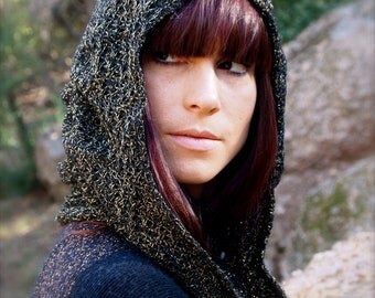 The Metallic Gold Crochet Knit Ruched Hood w/ matching cuffs in Black by Opal Moon Designs (One Size Fits all, Unisex)