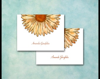 Daisy Note Cards / Gerber Gerbera Daisy Stationery Stationary Gift Flower Card Set of 10 / Yellow Gold Coral Clay / Sunflower / Personalized