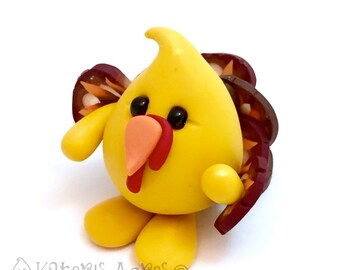 TURKEY Parker Thanksgiving Figurine - Polymer Clay Character
