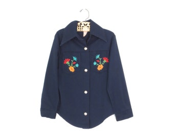 Kids Embroidered Western Shirt * Cowgirl Rodeo Blouse * 70s Floral Blue Shirt * size 7