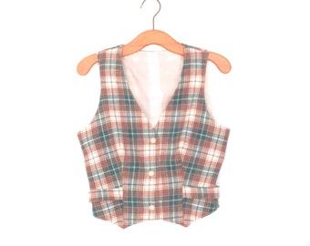 Vintage Wool Vest * 70s Plaid Waistcoat * Collegiate Tartan Vest * Large