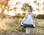 Alice in Wonderland dress: lined blue with white apron and black trim satin tutu dress, easy on and off, costume, birthday party, adjustable