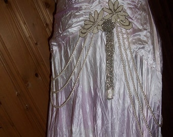 Great Gatsby Re-designed OOAK Vintage Size 20 Tie-Dyed Satin Lavender with Pearls Hand Embellished Wedding or Event Gown