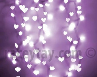 Valentine Decor, Purple Hearts Print, Pastel, Girl Nursery Decor, Large Wall Art