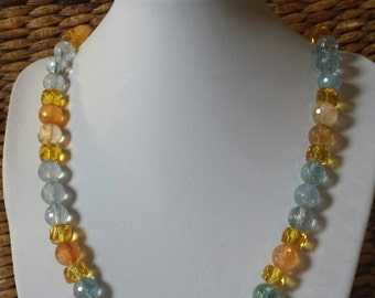 Heavenly Aquamarine and Citrine and crystal necklace