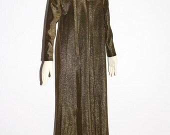 HALSTON IV Vintage Caftan Dress Black Metallic Lurex Gown with Sash