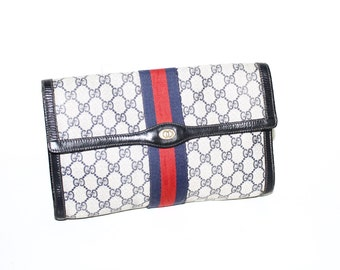 GUCCI Vintage Clutch Monogram Blue Leather Web Stripe Handbag - AUTHENTIC -