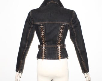 AZZEDINE ALAIA Vintage Black Denim Corset Motorcycle Jacket - AUTHENTIC -