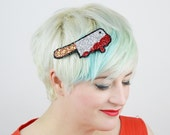 Bloody Meat Cleaver Hair Clip, Glitter Hair Accessory