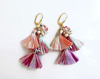 Boho Tassel Earrings, Long Bohemian Earrings, Tropical Parrot Earrings, Fiber Earrings