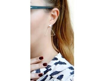 Triangle Ear Jacket Earrings, Silver Ear Jacket, Gold Ear Jacket, Double Sided Earrings, 925 Silver Earwires