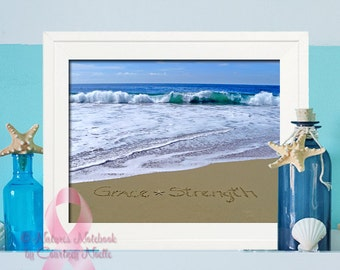 Unique Breast Cancer Gift -Unique Beach Decor - Breast Cancer Awareness- Makes a beautiful housewarming gift