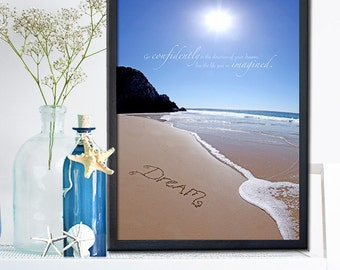 Beach Office Decor - Graduation Gift -  Dream go confidently in the direction of your dreams sign - Housewarming Gift - Coastal Christmas
