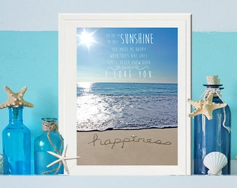 Beach Nursery Decor-You are my Sunshine Typography with Happiness in the sand -Chidlrens Wall Art - Unique Baby Gift -Coastal Nautical Ocean