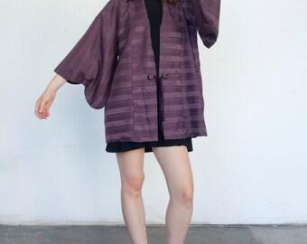 Vintage Raw Silk 1960's Lavender Purple Stripe Batwing Short Kimono Jacket S/M/L