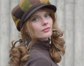 Patchwork Wool Newsboy Hat Rustic Brown and Green