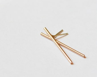 Super Thin Rose Gold Bar Stud Earrings - Limited Edition Delicate Pastel Rose Gold Drop Earring - Free Shipping US