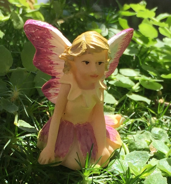 "Tiny Fairy ""Petal"" Figurine, Fairy Garden Accessory, Garden Decor, Topper, Terrarium Accessory"