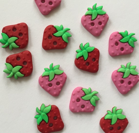 """Strawberry Buttons, Packaged Novelty Button Assortment """"Sew Cute Strawberries"""" by Dress It Up Jesse James, 2 Hole, Sewing, Crafting Buttons"""