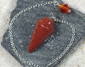 Red Goldstone Smooth Cone Crystal Pendulum w/ Czech Glass Finger Grip, SSP7