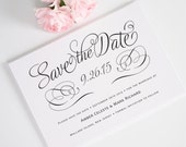 Simple Save the Date Card in White, Black with Romantic Script for a Chic, Playful, Modern, Contemporary Wedding  - Charming Script Deposit