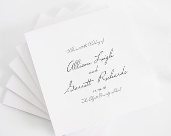 Schoolhouse Script Wedding Program in Black and White, Deposit