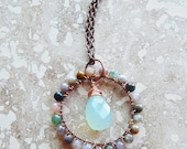 Gemstone necklace,aqua chalcedony pendant, multicolored agate necklace, wire wrapped pendant, long boho necklace, bohemian jewelry, casual