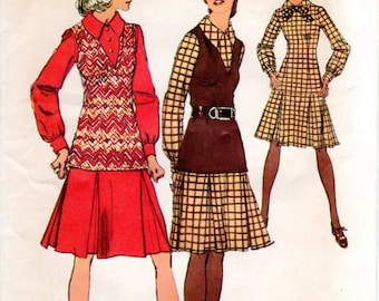1970s Drop Waist Dress with Pleated Skirt - Vintage Pattern Simplicity 5129 - Bust 40 UNCUT FF